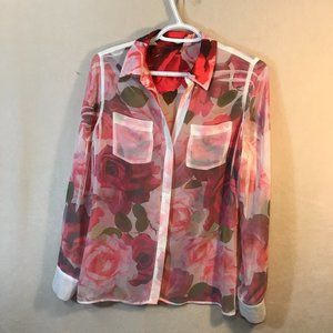 Guess Floral Sheer Blouse Top